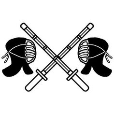 竹刀と面2/剣道/部活動・クラブ活動(運動)/学校/無料【白黒イラスト素材】