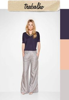 calça alfaiataria cinza + blusa colorida + colar
