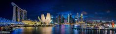 "Marina Bay Panorama at Blue Hour Go to http://OutBoardr.com and use code PINTEREST for free shipping on your first order! (Lower 48 USA Only). Sign up for our email newsletter to get your free guide: ""Boat Buyer's Guide for Beginners."""