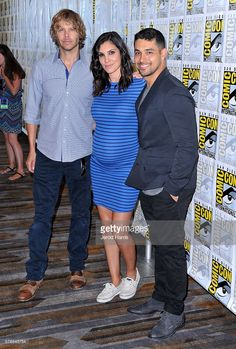 Actors Eric Christian Olsen, Daniela Ruah and Wilmer Valderrama attend CBS Fan Favorites Press Line during Comic-Con International 2016 at Hilton Bayfront on July 2016 in San Diego, California. (Photo by Jerod Harris/Getty Images) Ncis Los Angeles, Los Angeles Wallpaper, Ncis Characters, Ncis Tv Series, Arrow Tv Shows, Ncis Cast, Eric Christian Olsen, Wilmer Valderrama, Daniela Ruah