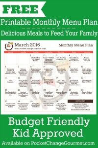 Delicious meals to feed your family in the Printable March Monthly Menu Plan! Budget friendly meal plan - Kid approved! Print out your FREE copy today!
