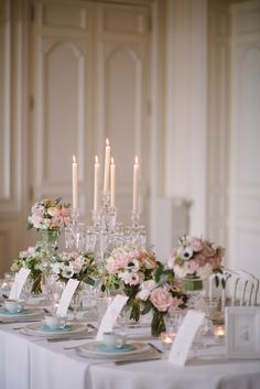 Pastel pink and blue elegance.  Floral Design: MADAME Artisan Fleuriste. Photography: Milton Photography - www.milton-photography.com  Read More: http://www.stylemepretty.com/2014/06/23/french-chateau-wedding-inspiration/