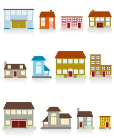 Different cartoon Houses elements vector 01 - Vector Cartoon free download