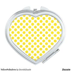 Yellow Polka Dots Compact Mirror  Available on many products! Hit the 'available on' tab near the product description to see them all! Thanks for looking!     @zazzle #art #polka #dots #shop #chic #modern #style #circle #round #fun #neat #cool #buy #sale #shopping #men #women #sweet #awesome #look #accent #fashion #clothes #apparel #tote #bag #accessories #accessory #compact #mirror #hand #purse #clutch #cosmetic #makeup #messenger #bicycle #yellow #white