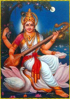 Shiva Art, Ganesha Art, Hindu Art, Saraswati Goddess, Goddess Art, Durga Maa, Indian Gods, Indian Art, Saraswati Painting