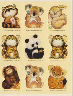 Vintage 1976 Critter Sitters Sticker sheet I had this exact page of stickers! And I really treasured my critter sitter jeans with the penguin on the pocket!