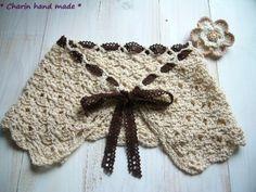 * Charin Hand made *大きい手編みの付け襟・ティペット/お花のコサージュ付き