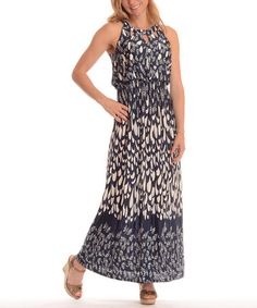 Look what I found on #zulily! Navy Abstract Cutout Maxi Dress - Plus by Shoreline #zulilyfinds