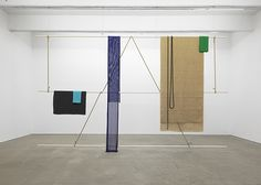 Eva Berendes Untitled (Spring/Summer), 2014 Steel tubes, lacquer, fabrics chain 146 x 237 x 7 in.