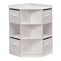 Badger Basket Corner Cubby Storage Unit with Four Reversible Baskets - White (White/Grey - Modern & Contemporary - Painted - MDF - Assembly Required), Corner Storage Unit, Toy Storage Units, Cubby Storage, Kids Storage, Storage Design, Storage Spaces, Fabric Storage, Storage Room Organization, Storage For Toys