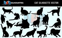 Cute Naughty Meow Cat Vector Silhouettes Free Download #Free #Vector #Silhouette Graphics
