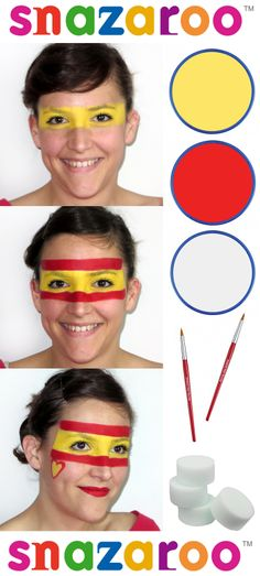 Spanish flag face paint by Lizzie LAB Faces for Snazaroo #worldcup #facepaint #Snazaroo #spain