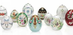 A GROUP OF 11 RUSSIAN PORCELAIN FLORAL EASTER EGGS BY THE IMPERIAL PORCELAIN FACTORY, ST PETERSBURG, CIRCA 1900s, ONE MID-19TH CENTURY.