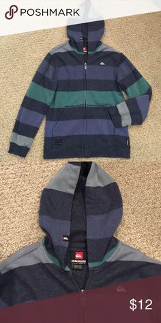 Quiksilver Boys Striped Zip Up Hoodie Gray, purple green stripes, with front pocket and hood. Very good pre owned condition! Quiksilver Shirts & Tops Sweatshirts & Hoodies