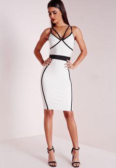 Tall Premium Contrast Piping Binding Bodycon Bandage Dress Mono