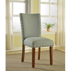 Sea Foam Nail Head Parsons Chairs (Set of 2) | Overstock.com Shopping - The Best Deals on Dining Chairs