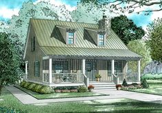 House Plan 110-00311 - This quaint Cottage House Plan is highlighted with a stone chimney feature, double window dormers and an extensive front covered porch as well as a rear grilling porch. The interior is highlighted with approximately 1,400 square feet of usable space that contains a huge open floor plan, two bedrooms and two bathrooms.