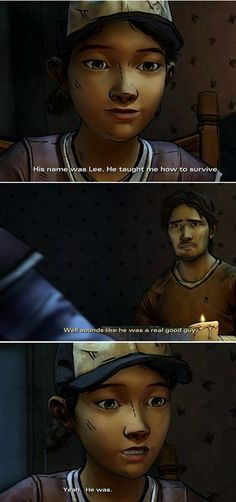 TWD S2 Clem remembering Lee. I'm gonna start crying any moment now since this made me remember to.