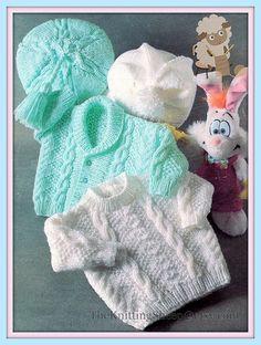 PDF Knitting Pattern Aran Jacket Sweater Beret & Hat Set