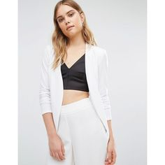 BCBGeneration Tuxedo Blazer in White (175 CHF) ❤ liked on Polyvore featuring outerwear, jackets, blazers, white, open front blazer, shawl jacket, white blazer jacket, shawl tuxedo jacket and white dinner jacket