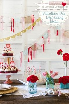 Inexpensive,  Craft And Decor Ideas Not just for valentine's day, cute girl birthday party decor... maybe tea party