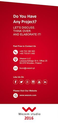 Please get in touch with us http://wezom.com/  Feel free to join us on - Facebook https://www.facebook.com/Wezom-studio-1695917303987768/ - LinkedIn https://www.linkedin.com/company/10367315?trk=tyah&trkInfo=clickedVertical%3Acompany%2CclickedEntityId%3A10367315%2Cidx%3A1-1-1%2CtarId%3A1456996466932%2Ctas%3Awezom - Twitter https://twitter.com/Wezom_studio - Google+ https://plus.google.com/u/0/114970790276727296500 - Instagram https://www.instagram.com/wezom_studio/ - Pinterest…
