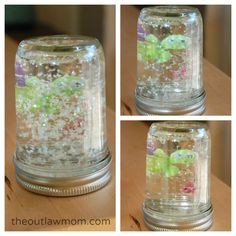 I was in summer day camp as a kid and once we made mini-aquariums using pickle jars. We coloured and cut out sea creatures and taped them so they wouldn't be water damaged. Put them in a jars of water coloured blue, and added glitter!