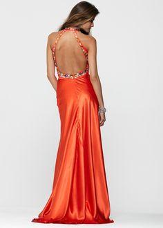 Clarisse 2154 - Charmeuse Orange Open Back Halter Prom Dress