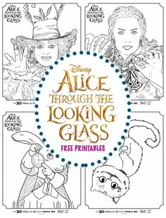Alice Through the Looking Glass Coloring Sheets from the new Live Action Disney Movie sequel to Alice in Wonderland movie with the Cheshire Cat and rabbit