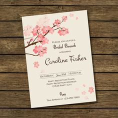 Bridal Brunch Invitation Cherry Blossom by BashDesigns15 on Etsy