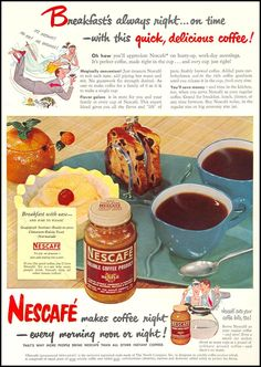 Retro Ads, Vintage Advertisements, Vintage Ads, Vintage Food, Nescafe Instant Coffee, Wholesale Coffee, Food Painting, Coffee Poster, Vintage Packaging