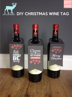 Shipping Wine To Maryland Refferal: 4679558983 Wine Bottle Tags, Wine Tags, Bottle Bag, Wine Bottle Crafts, Wine Labels, Christmas Wine, Christmas Shows, Homemade Christmas, Christmas Ideas