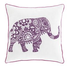 Wild for elephants? Celebrate your love of this magnificent creature in style with the Medan accent pillows by Signature Design. Boho chic graphic and posh purple are a whimsical, wonderful mix.