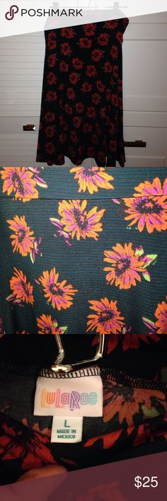 LuLaRoe Azure, L, worn once! Only worn once, a black background with subtle blue stripes and bright reddish-orangish flowers, L. Skirts A-Line or Full