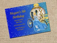 Your place to buy and sell all things handmade Cinderella Invitations, Costa Rica, Cinderella Birthday, Birthday Invitations Kids, 5th Birthday, Invitation Cards, Handmade Gifts, Etsy, Kid Craft Gifts