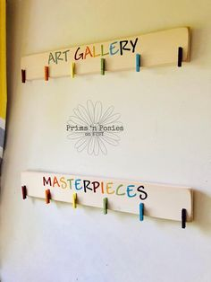 Art Gallery or Masterpieces Art Display Board Wood Sign Brag Board Art Gallery or Masterpieces Art Display Board Wood Sign Brag Displaying Kids Artwork, Artwork Display, Display Kids Art, Hanging Kids Artwork, Childrens Art Display, Display Boards, Display Wall, Playroom Art, Playroom Design