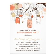Spring Wedding Invitations Peach Mason Jars Engagement Party Invitation