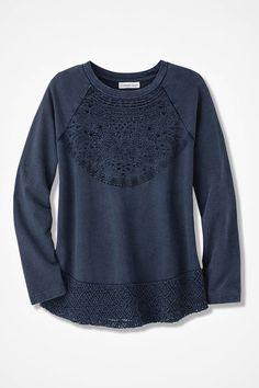 Indigo Embroidered Sweatshirt, Washed Indigo