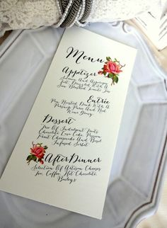 MENU CARD  Ideal for Weddings Rehersal Dinners by SweetPeaSunday, $1.25  #floral