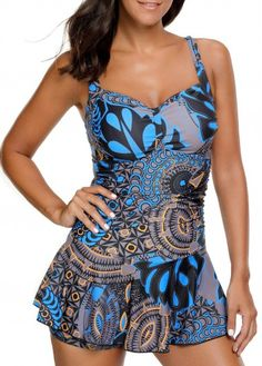 Padded Printed Ruched Spaghetti Strap Swimdress on sale only US$31.29 now, buy cheap Padded Printed Ruched Spaghetti Strap Swimdress at Rosewe.com