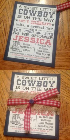 Baby shower invitation. Western theme party invite.
