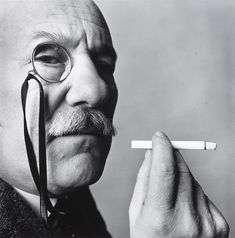 "yama-bato:  Barnett Newman by Irving Penn in the Irving Penn Portraits exhibition. [Source: National Portrait Gallery]  The artist once said ""It is interesting to me to notice how difficult it is for people to take the intense heat and blaze of my color. If my paintings were empty they could take them with ease."""