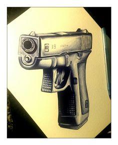 pen drawing art Glock, gun, firearm, guns, #gun #glock #weapons artist Rudy Acosta