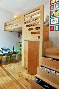 Love this loft bed. Stairs double as dresser drawers