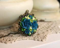 Collar de flores hecho a mano, joyería hecha a mano de flores, collar de arcilla del polímero, collar de flores, accesorios de la boda, collar de flores