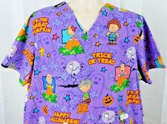 Peanuts Happy Halloween Trick or Treat Snoopy Charlie Brown Scrub Top Purple XL…