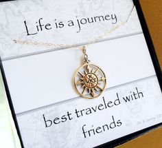 Comapss Goldkette, Compass rose Charm Halskette, Freundschaft Artikel, beste Freundin Geschenk, Textkarte mit Halskette, Brautjungfer Gesche...
