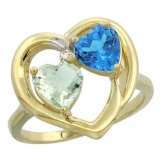 14K Yellow Gold Diamond 2-Stone Heart Rings Wholesale - Afford Price: Contact Us @ (213) 689-1488