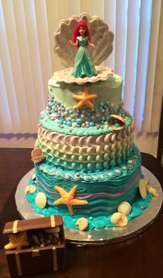 The cake tiers are 10, 8, and 6. The shells, including the one Ariel stands in, are made of white chocolate and tinted with gel food colors. The treasure