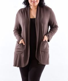 Love this Mink Pocket Open Cardigan - Plus on #zulily! #zulilyfinds